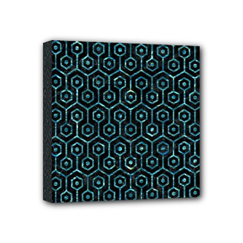 Hexagon1 Black Marble & Blue Green Water Mini Canvas 4  X 4  (stretched) by trendistuff