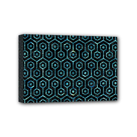 Hexagon1 Black Marble & Blue Green Water Mini Canvas 6  X 4  (stretched) by trendistuff