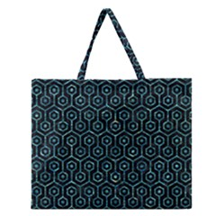 Hexagon1 Black Marble & Blue Green Water Zipper Large Tote Bag by trendistuff