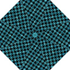 Houndstooth2 Black Marble & Blue Green Water Straight Umbrella by trendistuff