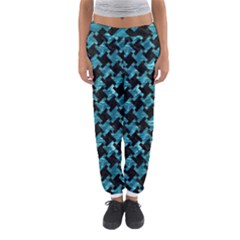 Houndstooth2 Black Marble & Blue Green Water Women s Jogger Sweatpants by trendistuff