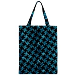 Houndstooth2 Black Marble & Blue Green Water Zipper Classic Tote Bag by trendistuff