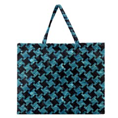 Houndstooth2 Black Marble & Blue Green Water Zipper Large Tote Bag by trendistuff
