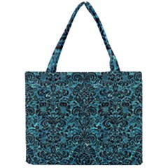 Damask2 Black Marble & Blue Green Water (r) Mini Tote Bag by trendistuff