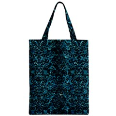 Damask2 Black Marble & Blue Green Water (r) Zipper Classic Tote Bag by trendistuff