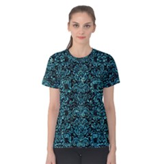Damask2 Black Marble & Blue Green Water Women s Cotton Tee