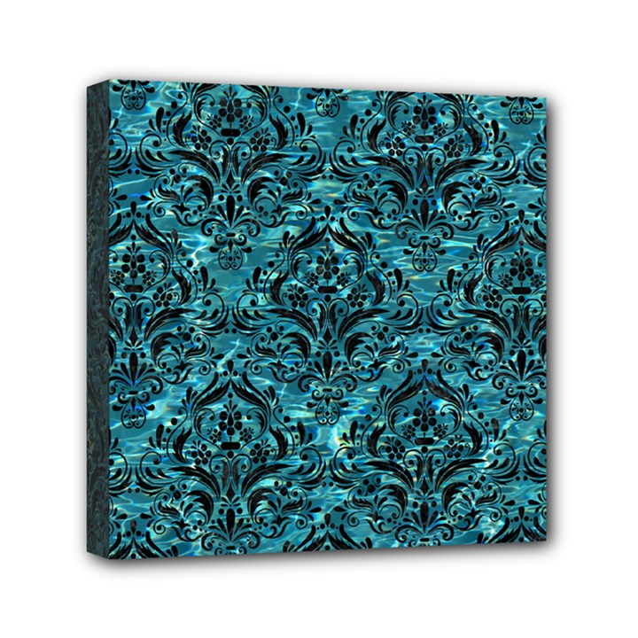 DAMASK1 BLACK MARBLE & BLUE-GREEN WATER (R) Mini Canvas 6  x 6  (Stretched)