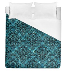 Damask1 Black Marble & Blue Green Water (r) Duvet Cover (queen Size) by trendistuff