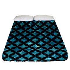 Circles3 Black Marble & Blue Green Water (r) Fitted Sheet (queen Size) by trendistuff