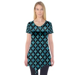 Circles3 Black Marble & Blue Green Water (r) Short Sleeve Tunic  by trendistuff
