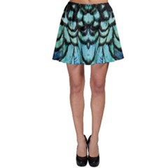 Blue And Green Feather Collier Skater Skirt by UnicornFashion