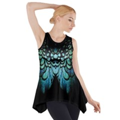 Blue And Green Feather Collier Side Drop Tank Tunic by UnicornFashion