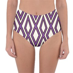 Diamond Key Stripe Purple Chevron Reversible High Waist Bikini Bottoms by Mariart