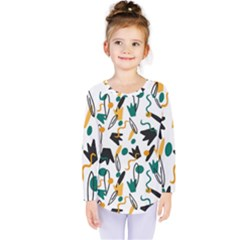 Flowers Duck Legs Line Kids  Long Sleeve Tee