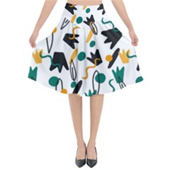 Flowers Duck Legs Line Flared Midi Skirt by Mariart