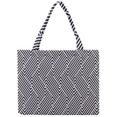 Escher Striped Black And White Plain Vinyl Mini Tote Bag by Mariart