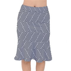 Escher Striped Black And White Plain Vinyl Mermaid Skirt by Mariart