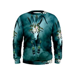 The Billy Goat  Skull With Feathers And Flowers Kids  Sweatshirt by FantasyWorld7