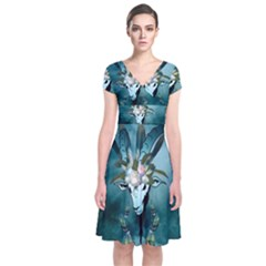 The Billy Goat  Skull With Feathers And Flowers Short Sleeve Front Wrap Dress by FantasyWorld7