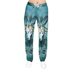 The Billy Goat  Skull With Feathers And Flowers Drawstring Pants by FantasyWorld7