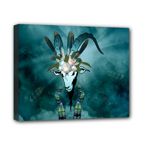 The Billy Goat  Skull With Feathers And Flowers Canvas 10  X 8  by FantasyWorld7