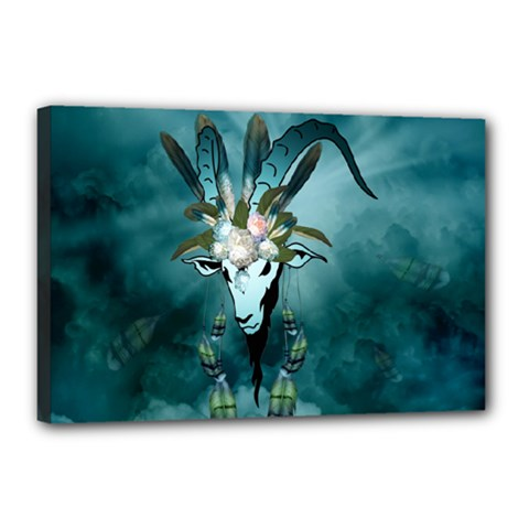 The Billy Goat  Skull With Feathers And Flowers Canvas 18  X 12  by FantasyWorld7