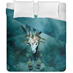 The Billy Goat  Skull With Feathers And Flowers Duvet Cover Double Side (california King Size) by FantasyWorld7