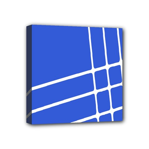 Line Stripes Blue Mini Canvas 4  X 4  by Mariart
