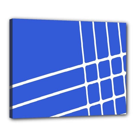 Line Stripes Blue Canvas 20  X 16  by Mariart