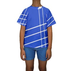 Line Stripes Blue Kids  Short Sleeve Swimwear by Mariart
