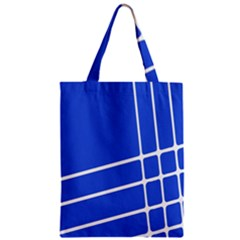 Line Stripes Blue Zipper Classic Tote Bag by Mariart