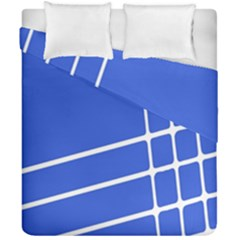 Line Stripes Blue Duvet Cover Double Side (california King Size) by Mariart