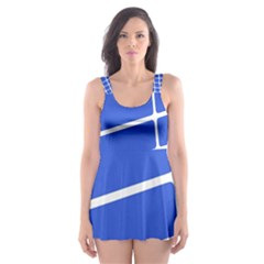 Line Stripes Blue Skater Dress Swimsuit by Mariart
