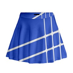 Line Stripes Blue Mini Flare Skirt by Mariart