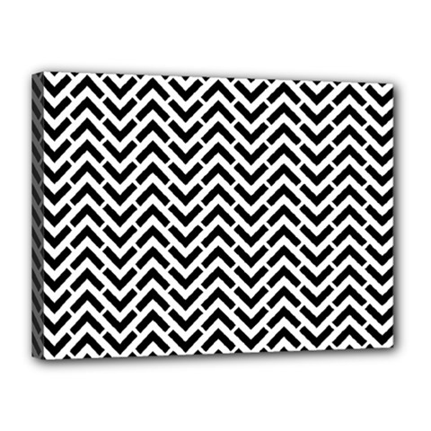 Funky Chevron Stripes Triangles Canvas 16  X 12  by Mariart