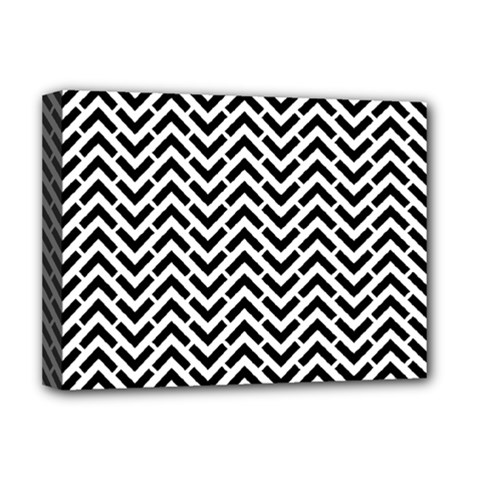 Funky Chevron Stripes Triangles Deluxe Canvas 16  X 12   by Mariart