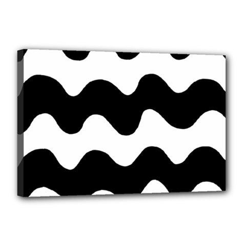 Lokki Cotton White Black Waves Canvas 18  X 12  by Mariart