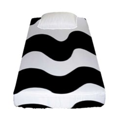 Lokki Cotton White Black Waves Fitted Sheet (single Size) by Mariart