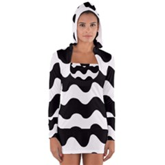 Lokki Cotton White Black Waves Women s Long Sleeve Hooded T-shirt by Mariart