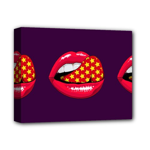 Lip Vector Hipster Example Image Star Sexy Purple Red Deluxe Canvas 14  X 11  by Mariart
