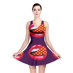Lip Vector Hipster Example Image Star Sexy Purple Red Reversible Skater Dress