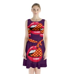 Lip Vector Hipster Example Image Star Sexy Purple Red Sleeveless Waist Tie Chiffon Dress