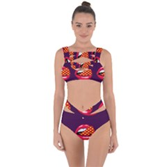 Lip Vector Hipster Example Image Star Sexy Purple Red Bandaged Up Bikini Set  by Mariart