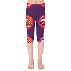 Lip Vector Hipster Example Image Star Sexy Purple Red Kids  Capri Leggings  by Mariart