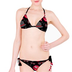 Lip Hat Vector Hipster Example Image Star Sexy Black Red Bikini Set by Mariart