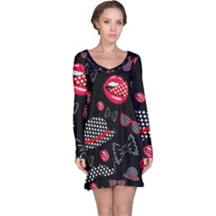 Lip Hat Vector Hipster Example Image Star Sexy Black Red Long Sleeve Nightdress by Mariart