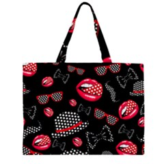 Lip Hat Vector Hipster Example Image Star Sexy Black Red Zipper Large Tote Bag by Mariart