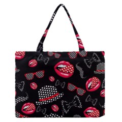 Lip Hat Vector Hipster Example Image Star Sexy Black Red Medium Zipper Tote Bag by Mariart