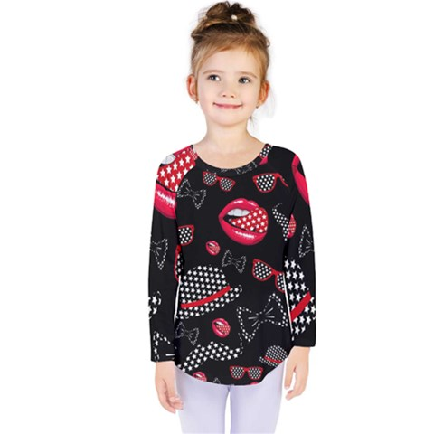 Lip Hat Vector Hipster Example Image Star Sexy Black Red Kids  Long Sleeve Tee by Mariart