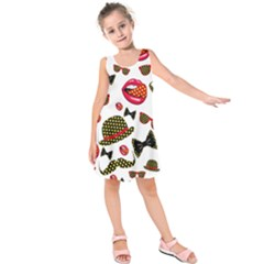 Lip Hat Vector Hipster Example Image Star Sexy Kids  Sleeveless Dress by Mariart